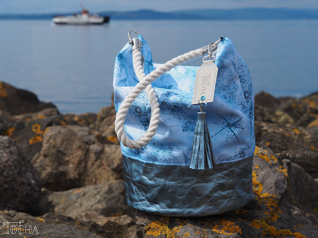 bucket bag, hobo bag, map, sailor, rope, nautical, Washpapa, Largs, adventure, voyage, Largs, Scotland, waterproof polyester,  Vegan bag, sea side, rope handles, Bag charms,
