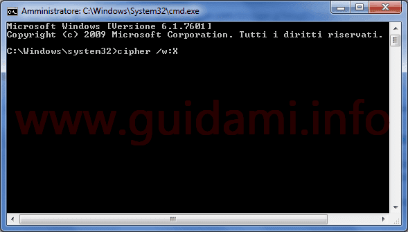 Prompt dei comandi Windows 7 comando cipher