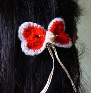 free crochet heart hair bow pattern, free crochet heart bow hairclip pattern