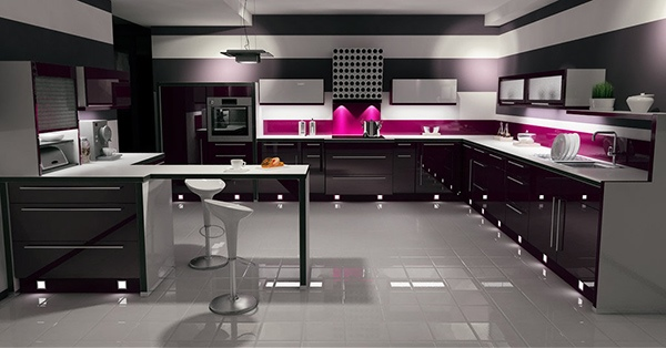 Ide Unik Desain Dapur Modern Berpola Garis