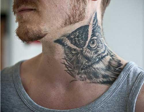 erkek boynu baykuş dövmesi
