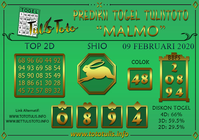 Prediksi Togel MALMO TULISTOTO 09 FEBRUARI 2020