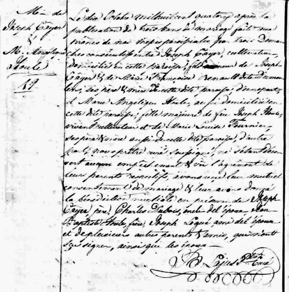 Marriage record of Joseph Caillé and Angélique Houle