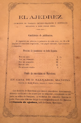 Precios de la Revista el Ajedrez en 1862