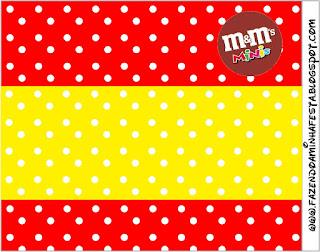Etiqueta M&M de Rojo, Amarillo y Lunares Blancos para imprimir gratis.