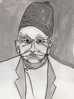Gurdjieff, ink drawing by David Borden