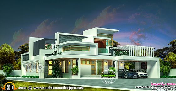 5 bedroom flat roof contemporary home in 2832 sq-ft