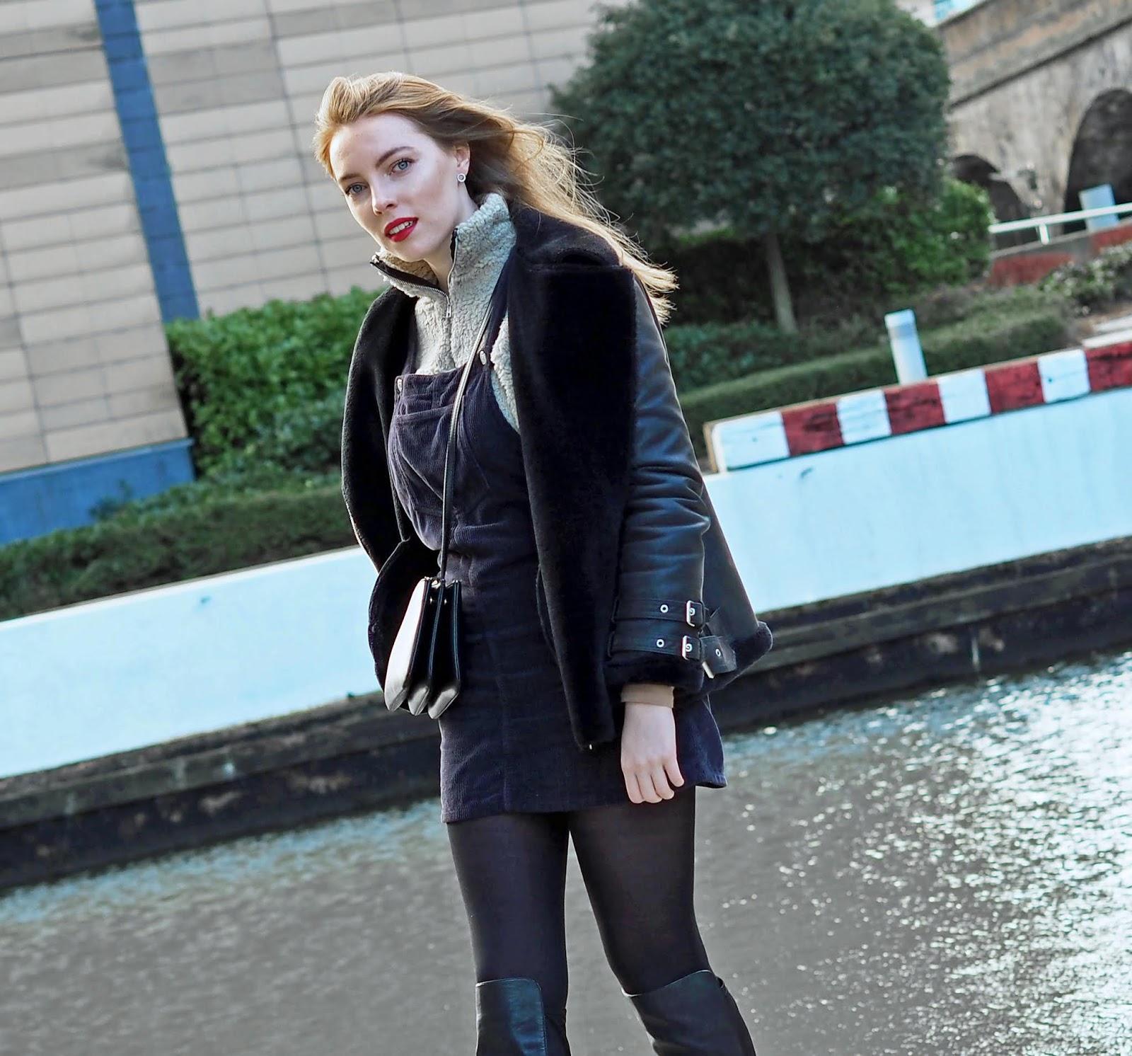 topshop cord dress shearling jacket