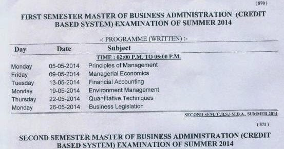 Nagpur University TimeTable Summer 2014 MBA First and Second
