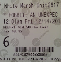 movie - The Hobbit: An Unexpected Journey - ticket stub