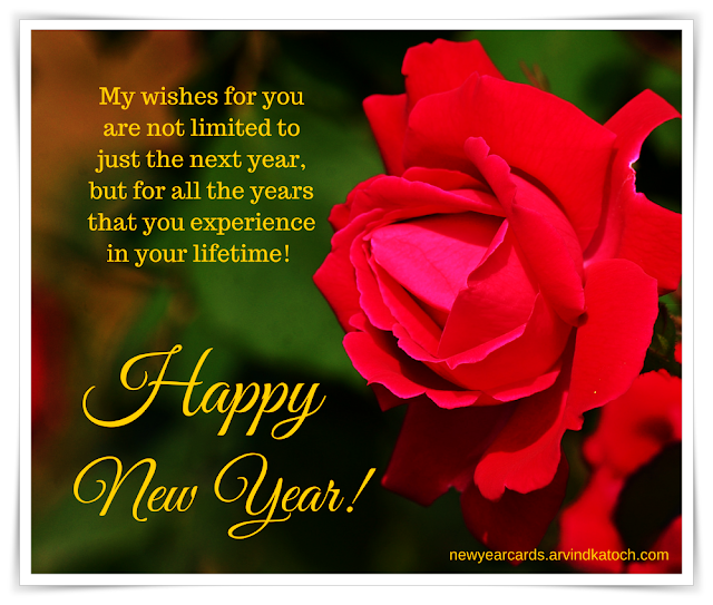 wishes, limited, next year, Red Rose, New Year Card,