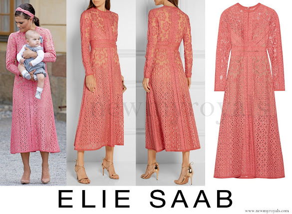 Crown Princess Wore ELIE SAAB Cotton-blend lace dress