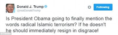 Donald Trump calls for Obama's resignation for refusing to blame 'Radical Islam' for the mass shooting in Orlando