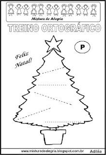 Treino ortográfico símbolos do natal pinheiro
