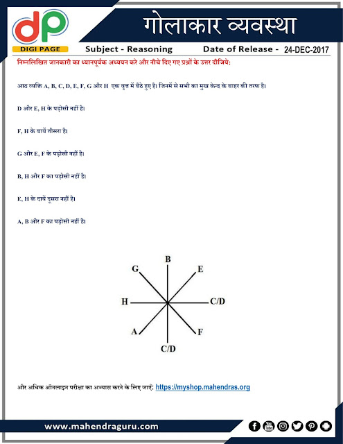 DP |  Circle Arrangement For IBPS Clerk Mains | 24 - 12 - 2017