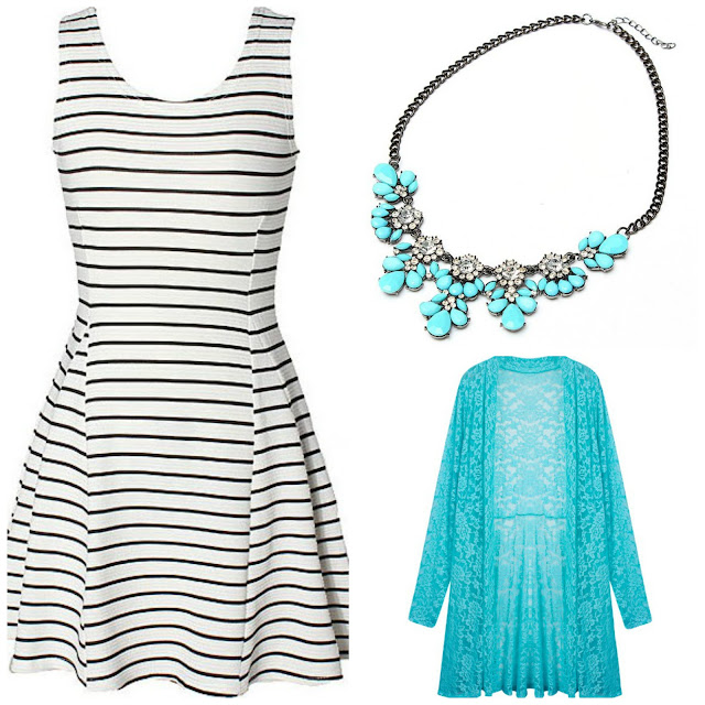 stripes dress statement necklace boho summer beach outfit