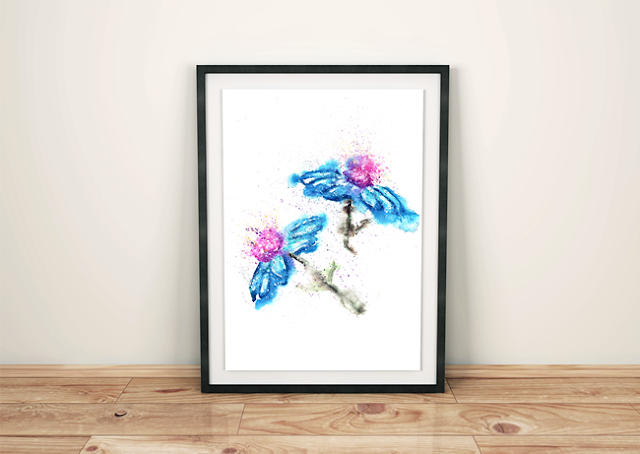 Blue Flowers Watercolor