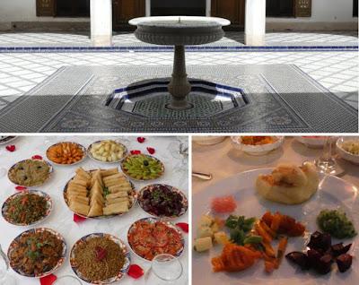 Collage Marrakesch mit Salaten als Vorspeise