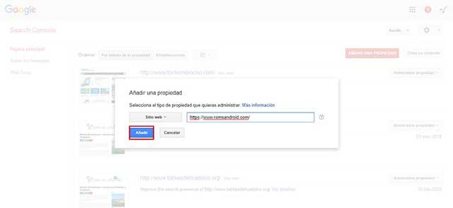 agregar el dominio con HTTPS como propiedad en Search Console