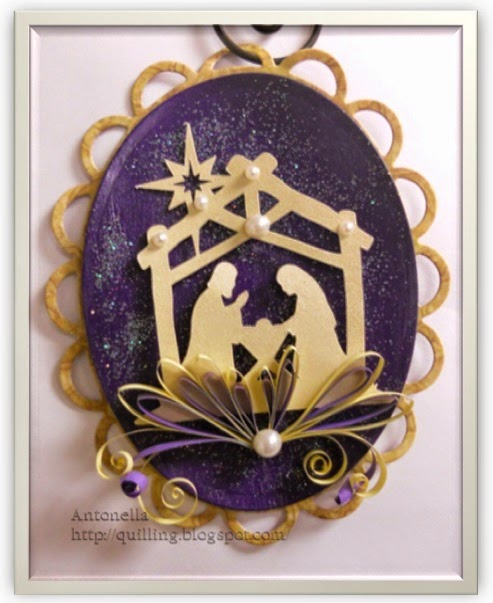 Silhouette Cameo Nativity Ornament with Quilling from Antonella at www.quilling.blogspot.com