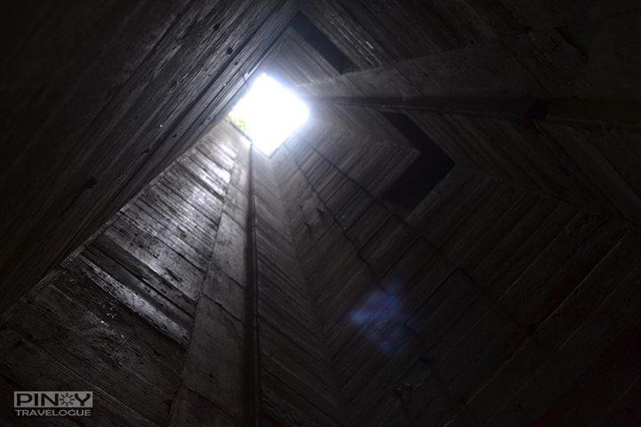A deep elevator shaft