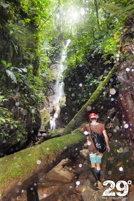 Vattenfallsklättring i Amazonas