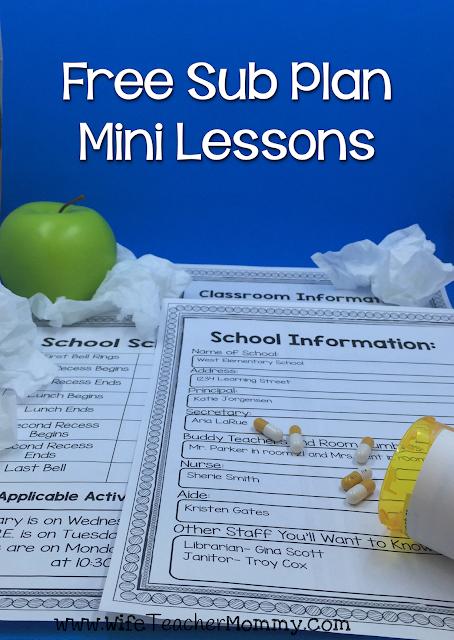 Free Sub Plan Mini Lessons