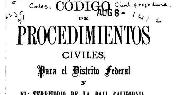 CODIGO DE PROCEDIMIENTOS CIVILES DISTRITO FEDERAL Y