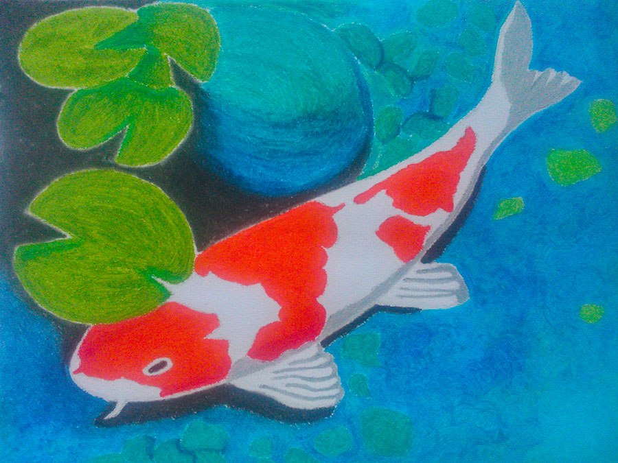 Koi fish oil pastel painting jemma travel food art blog for How to paint a fish
