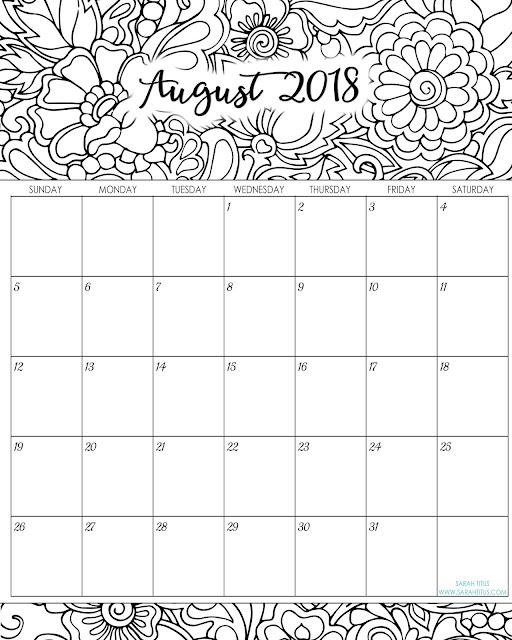 August editable calendar