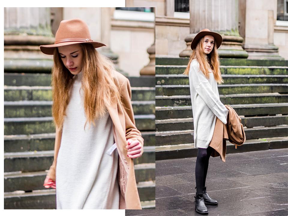 White jumper dress and camel coat outfit - Valkoinen neulemekko ja kamelitakki, syysmuoti