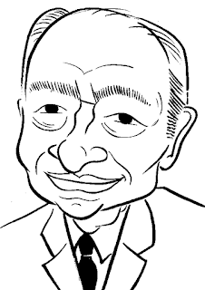 Colin Dexter Caricature Sketch by Ian Davy Brown