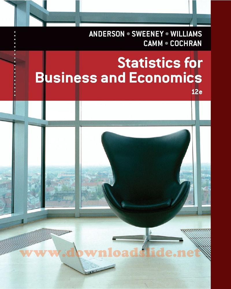 Ebook Statistics for Business and Economics 12th Edition by Anderson,  Sweeney, Williams