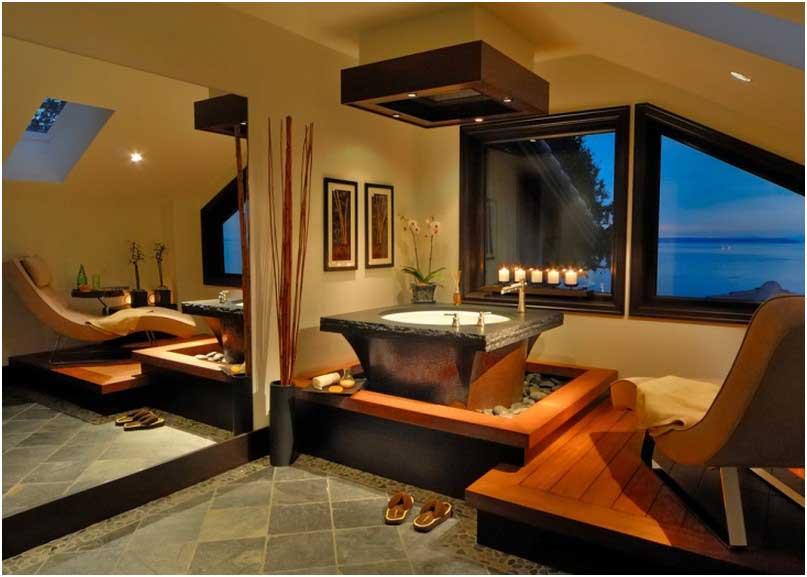 Einzigartig Japanisch Inspiriertes Badezimmer  Mit Dachschräge Verwendung Große