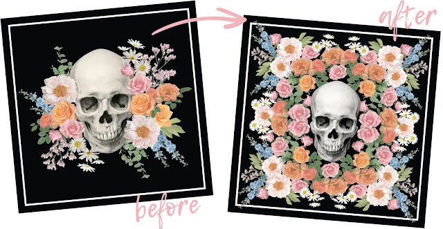 Design before and after for illustrated scarf by Dena Cooper