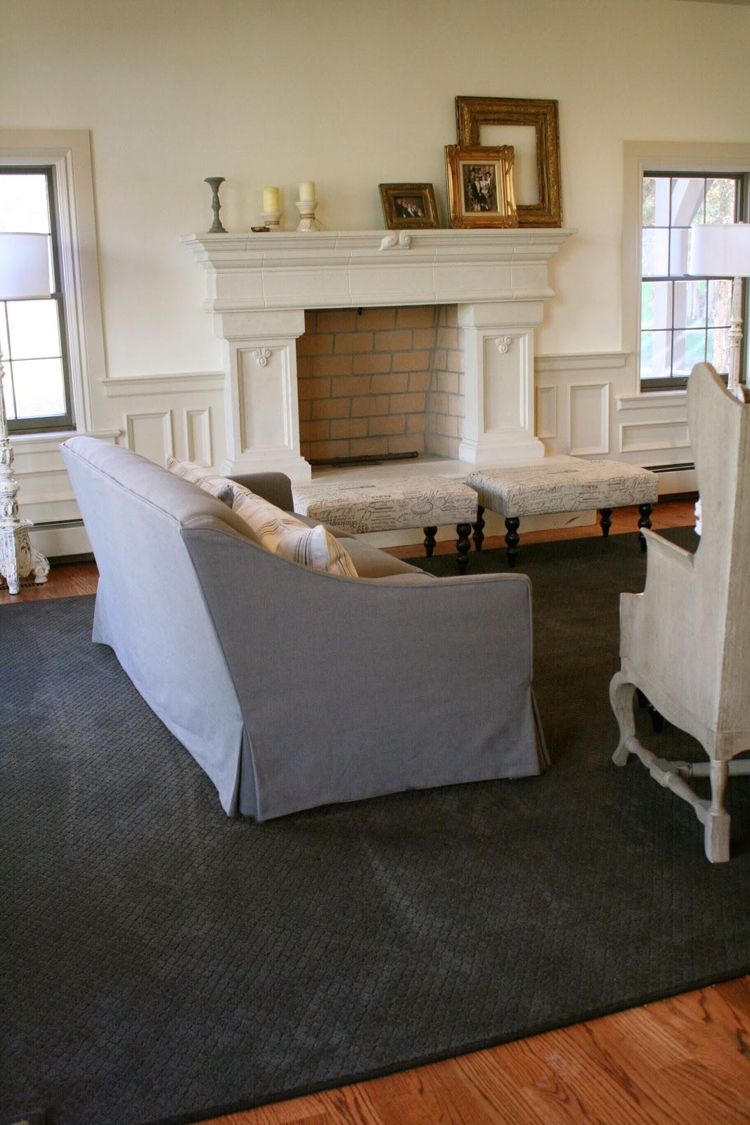 Gray Linen Sofa Slipcover Jacobsen Custom Slipcovers By Shelley Waterfall Skirt Couch