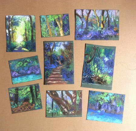 Thumbnail sketches created using soft pastels. By Manju Panchal