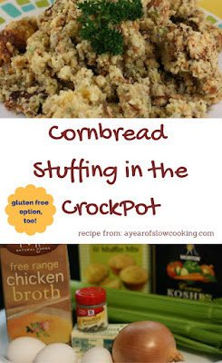 Great stuffing recipe -- I like that it's made in the crockpot. Bake the corn bread a few days ahead of time so you don't have to do too much on the big day!