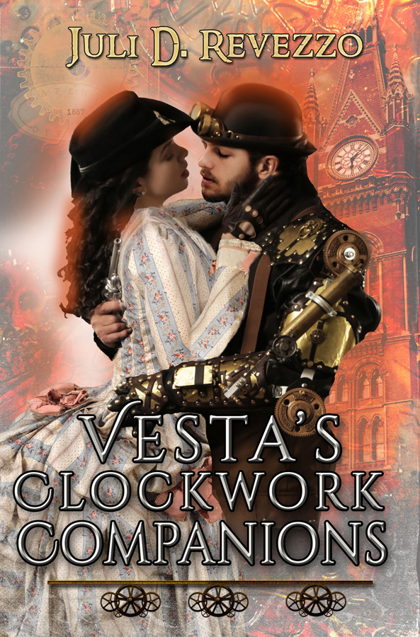 Vesta's Clockwork Companions by Juli D. Revezzo, steampunk, Kindle, ebook, paperback, books, new release books, new release books 2018, new release ebooks, steampunk dogs, steampunk fantasy, steampunk ya books, steampunk 1800s, a steampunk novel, historical romance novels 2018, historical romance ebook, historical romance fantasy, historical romance kindle unlimited, historical romance victorian era, historical romance with smart heroine, historical romance ya. Available at Amazon.