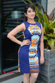 Manjusha Pictures in Blue Short Dress at Jaguar Movie Success Meet    ~ Bollywood and South Indian Cinema Actress Exclusive Picture Galleries