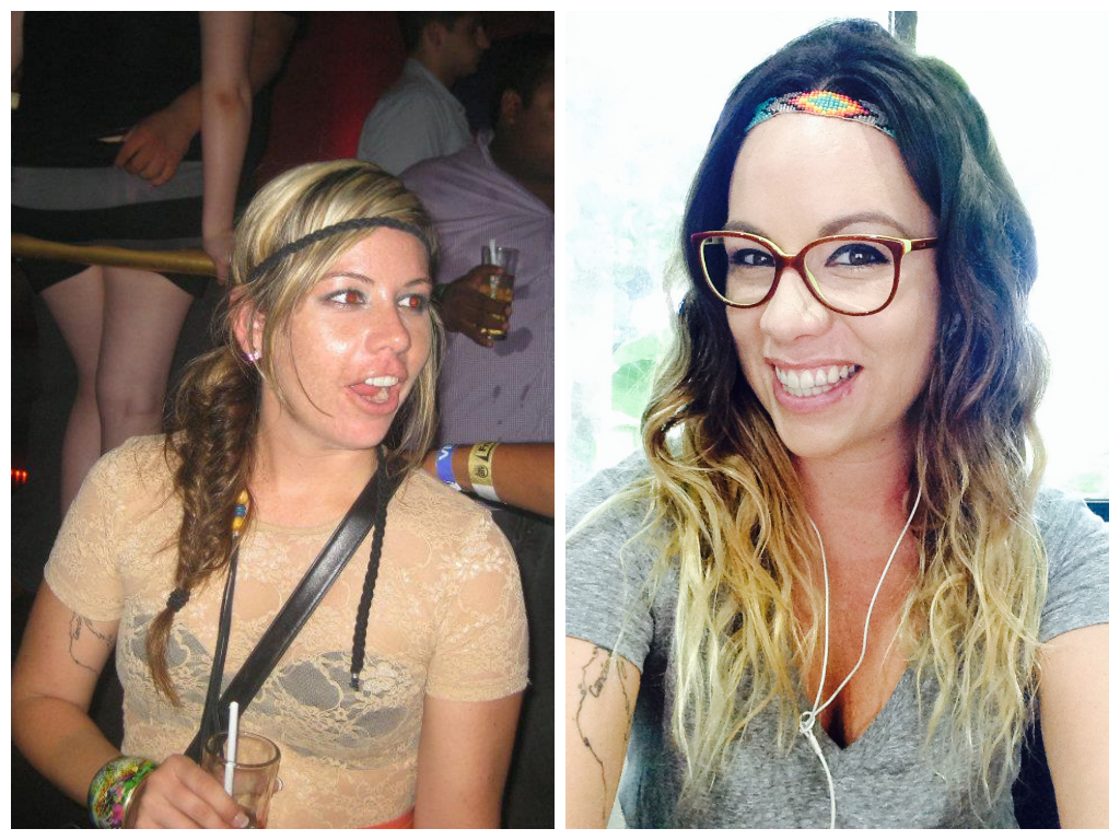 7 Things I Learned From A Year Without Alcohol - On the left, a peak drinking time  - On the right, a few weeks ago, almost one year sober
