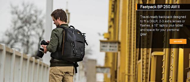 Tas Kamera Lowepro Fastpack BP 250 AW II, penerus Fastpack 250