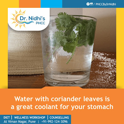 water with coriander leaves