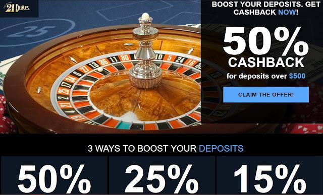 Up to 50% cash back on Live Dealer deposits at 21Dukes casino