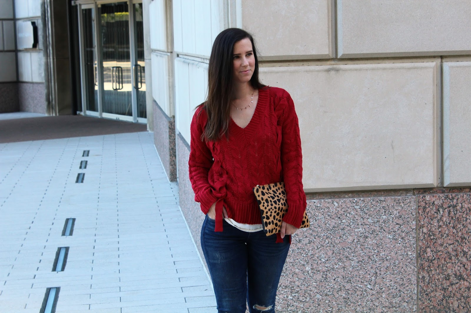 Red Lace Up Sweater - Beautifully Elegant Blog