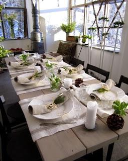 comedor de navidad verde blanco