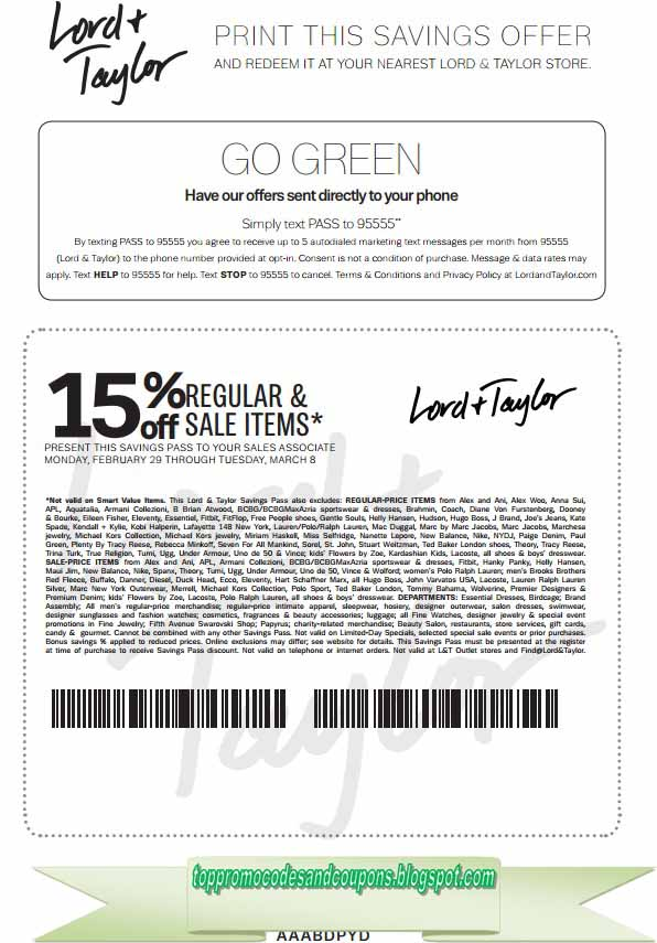 photograph regarding Lord and Taylor Coupons Printable identify Cost-free Promo Codes and Discount coupons 2019: Lord Taylor Coupon codes