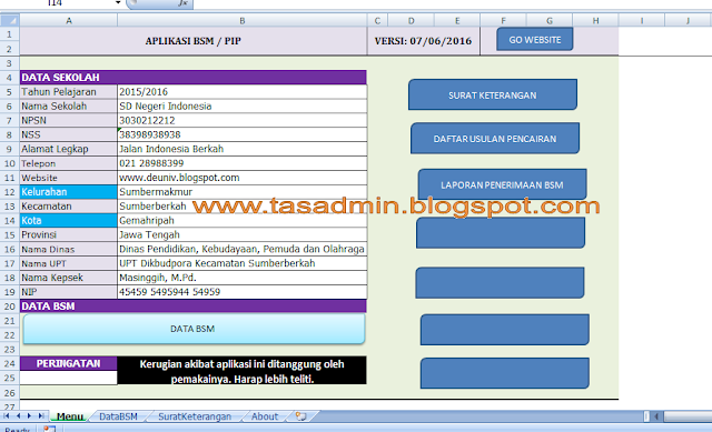 Sheet Menu Aplikasi BSM