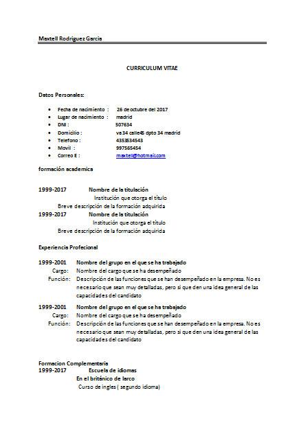 Modelos de curriculum vitae simples gratis en Word ~ Curriculum