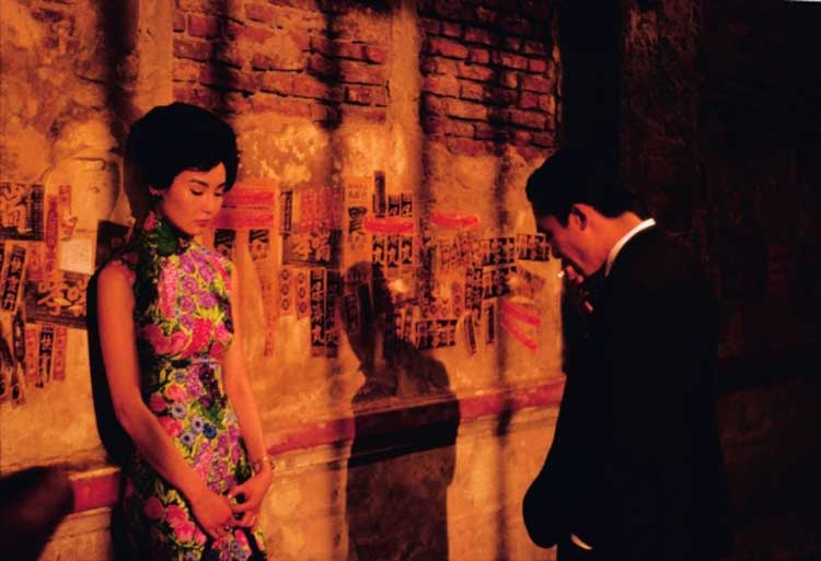 Mr. Chow and Mr. Chan share a rare moment in In the Mood for Love.